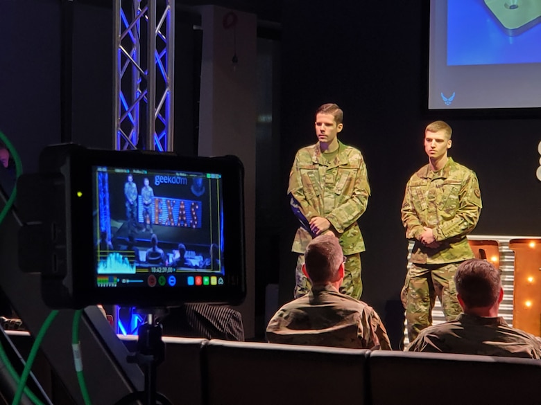 Staff Sgt. Nate Klingbeil and Airman 1st Class Jordan Vesey present their idea for using additive manufacturing for vehicle maintenance to senior leaders during the 2020 Air Force Installation and Mission Support Center Innovation Rodeo, Feb. 7, 2020, in San Antonio.