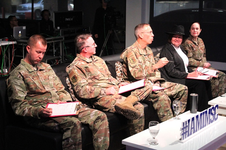 From left, 2020 AFIMSC Innovation Rodeo panel members Chief Master Sgt. Edwin Ludwigsen, Brig. Gen. Stewart Hammons, Maj. Gen. Tom Wilcox, Lorna Estep and Brig. Gen. Alice Trevino ask questions following a presentation Feb. 7, 2020.