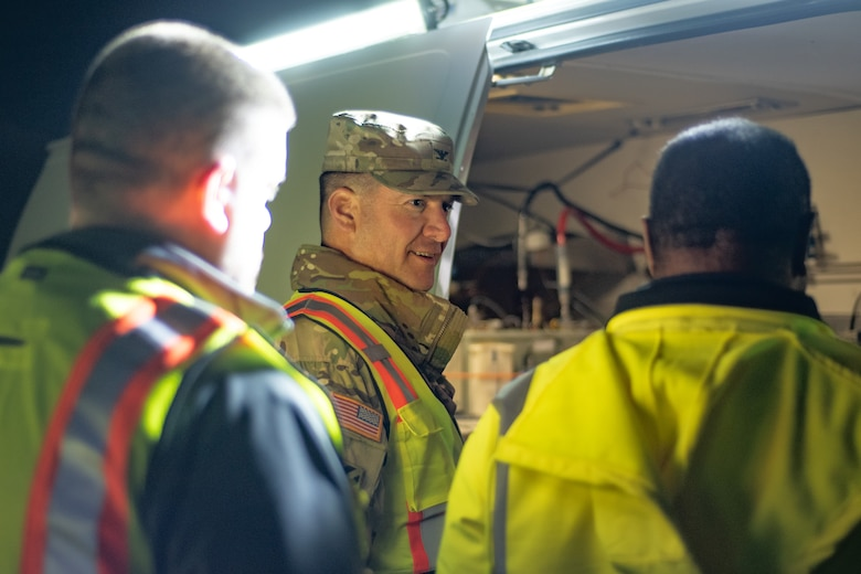 Col. Marvin L. Griffin, Huntsville Center commander, talks with the professionals working on a chemical warfare materiel remediation project at Redstone Arsenal, Alabama, Jan. 16, 2020, for which Huntsville Center's Chemical Warfare Design Center is serving as executing agent.