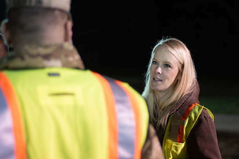 Ashley Roeske, project manager with Huntsville Center's Chemical/Biological Warfare Materiel Division, provides some background information to Col. Marvin L. Griffin, Huntsville Center commander, about a chemical warfare materiel remediation project at Redstone Arsenal, Alabama, Jan. 16, 2020.