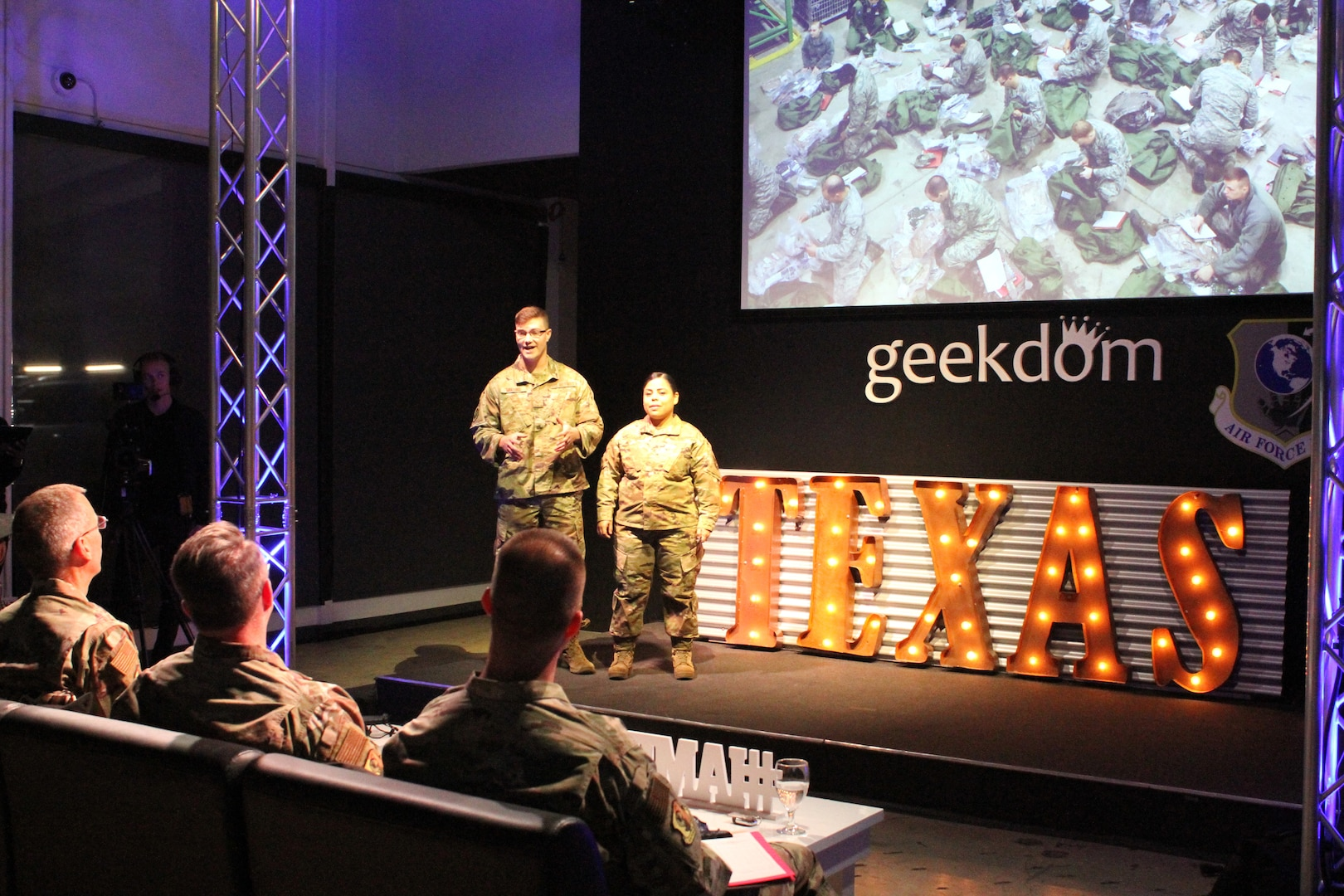 rom left, Staff Sgt. Nicholas S. Mullins and Tech. Sgt. Anastasia Sobania present their idea for using radio frequency identification software for weapon and equipment management to senior leaders during the 2020 Air Force Installation and Mission Support Center Innovation Rodeo, Feb. 7, 2020, in San Antonio.