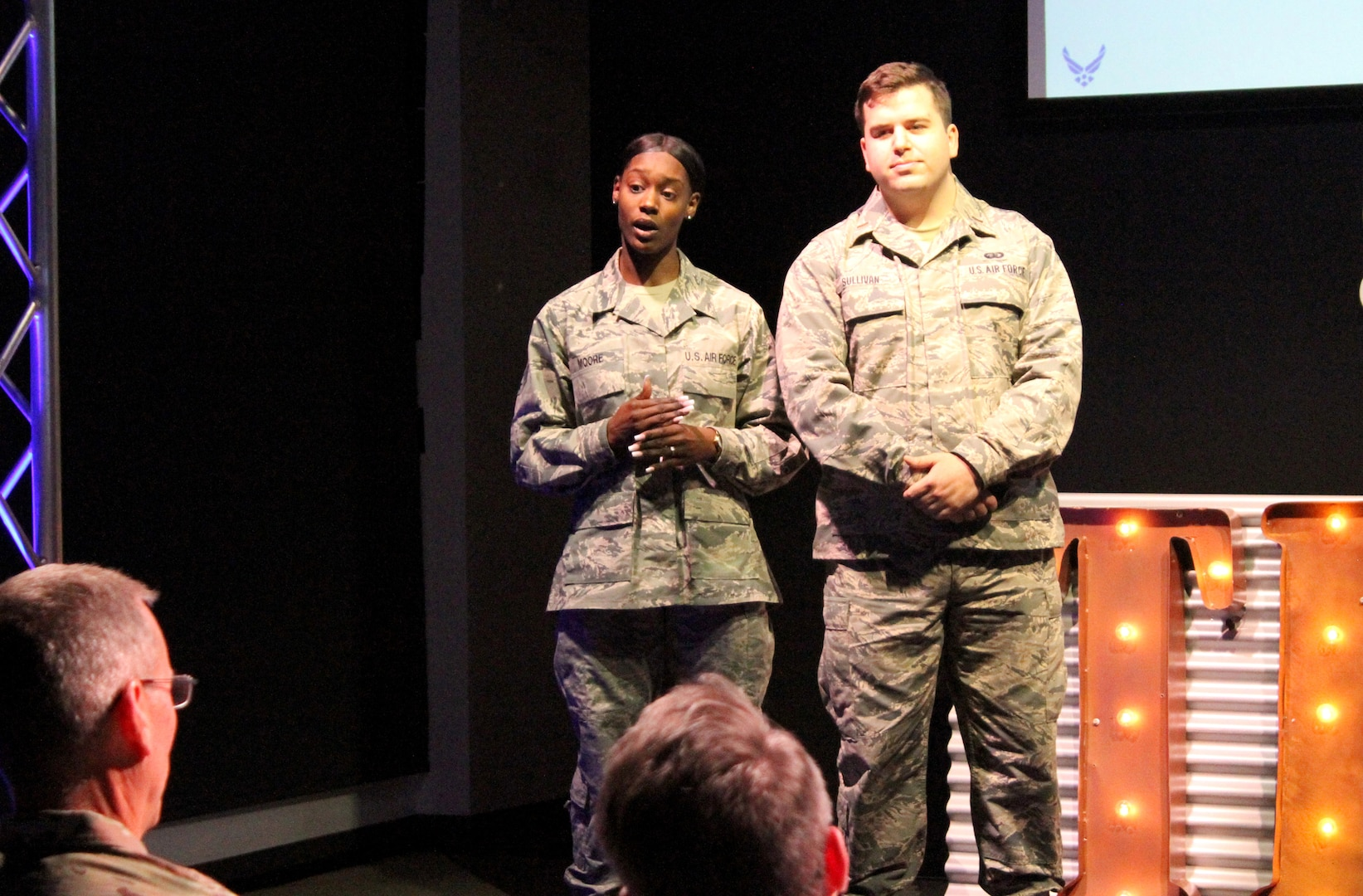 Second Lt. Thomas Sullivan and Senior Airman Ny'Daisha Moore present their idea for AF Eats, an app-based food order and delivery service, to senior leaders during the 2020 Air Force Installation and Mission Support Center Innovation Rodeo, Feb. 7, 2020, in San Antonio.