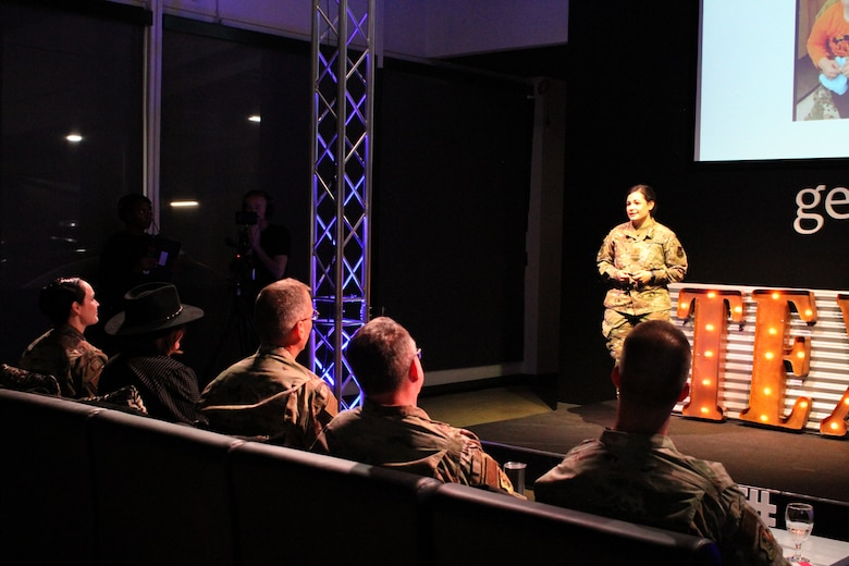 Maj. Jacque Vasta presents her idea for a child care app to senior leaders during the 2020 Air Force Installation and Mission Support Center Innovation Rodeo, Feb. 7, 2020, in San Antonio.