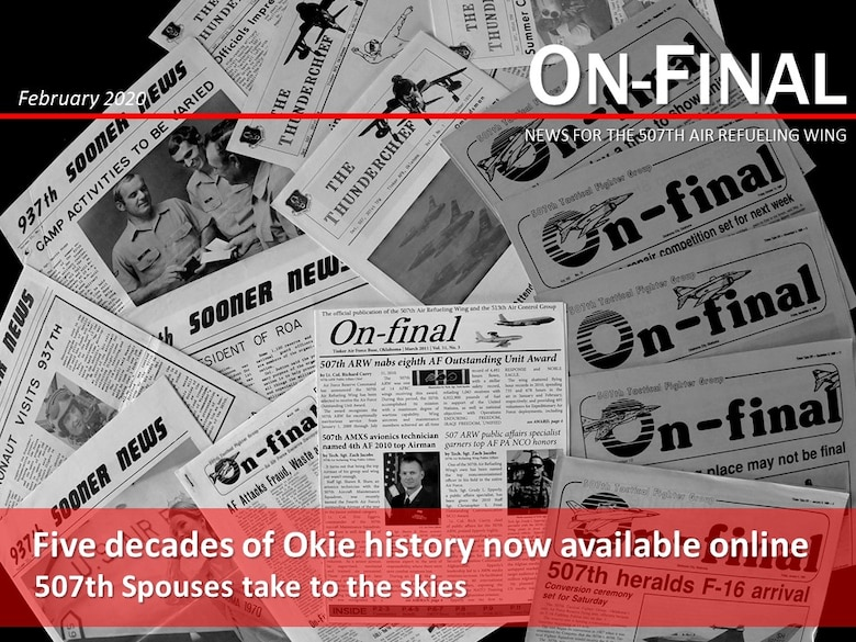 507th Air Refueling Wing newsletters from the past five decades are displayed on a table Feb. 7, 2020, at Tinker Air Force Base, Oklahoma. (U.S. Air Force graphic by Senior Airman Mary Begy)