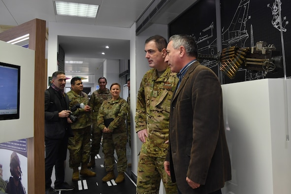 U.S. Air Force Brig. Gen. Mark R. August, 86th Airlift Wing commander, second from right, meets with retired Portuguese air force Brig. Gen. Eduardo Faria, right, to tour the Portuguese Aviation Museum, Lajes Field, Portugal, Jan. 21, 2020.