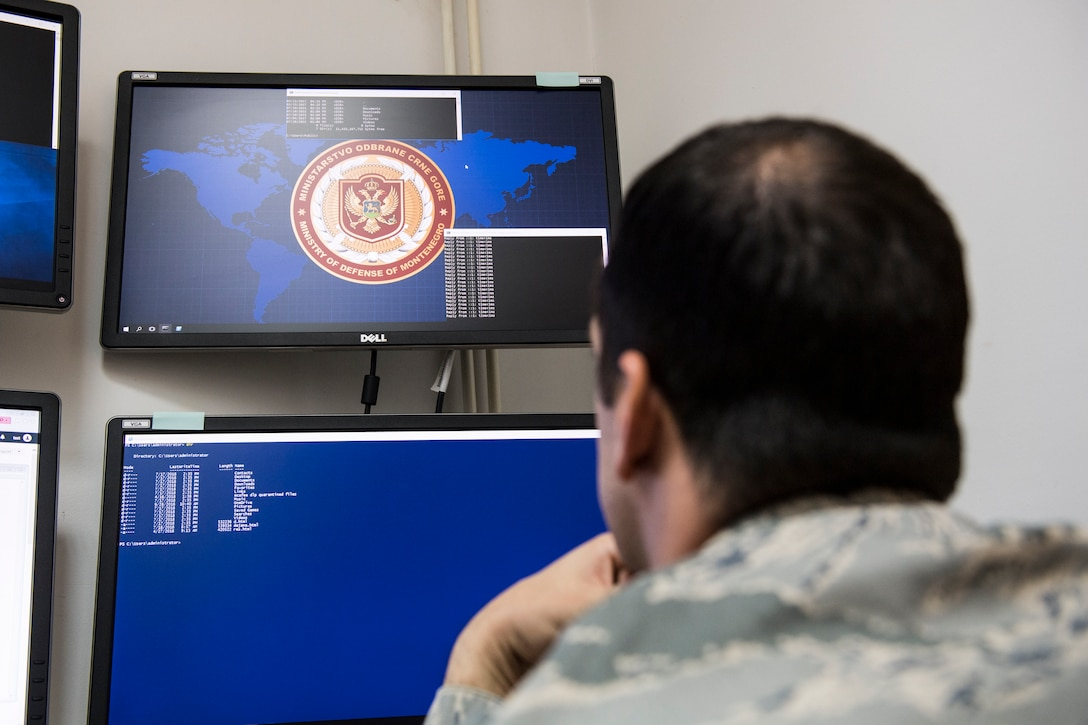 An airman is seen from behind as he looks at a computer monitor.