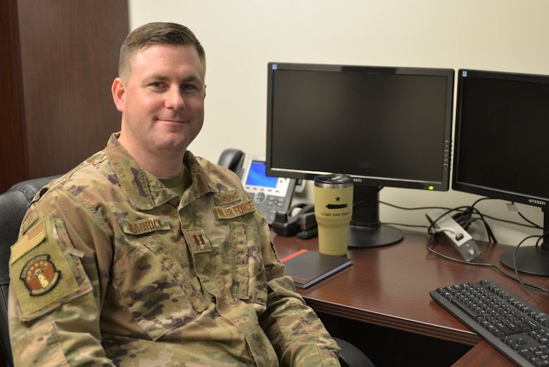 U.S. Air Force Capt. Ryan Headrick, 81st Training Wing Commander's Action Group director, poses for a photo at Keesler Air Force Base, Mississippi, Jan. 30, 2020. Headrick received the 2019 General John P. Jumper Award for Excellence in Warfighting Integration. (U.S. Air Force photo by Airman 1st Class Kimberly L. Mueller)