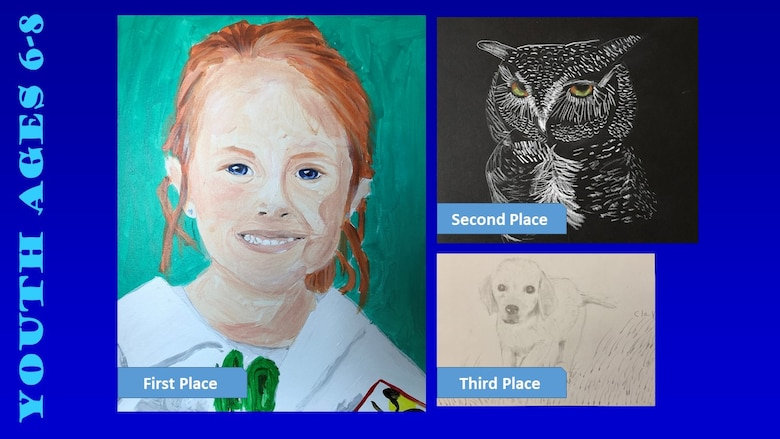 Photos of the top three winners of the Air Force Art Contest in the youth ages 6-8 category.