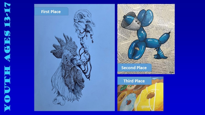 Photos of the top three winners of the Air Force Art Contest youth ages 13-17 category.