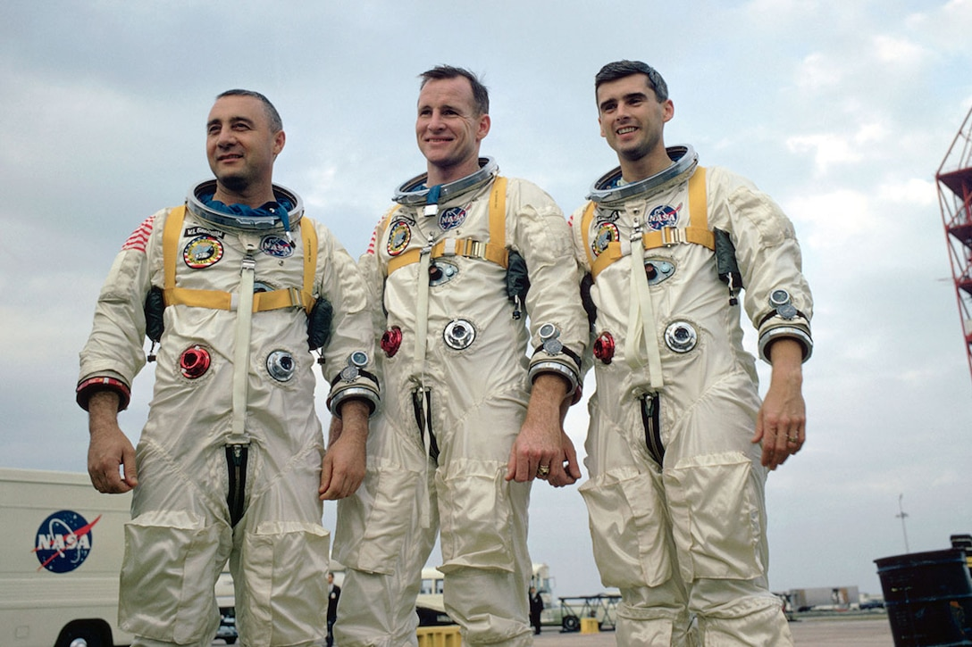 Apollo 1 Crew (l-r): Virgil I. Grissom, Edward H. White, Roger B. Chaffee. (Photo courtesy of NASA)