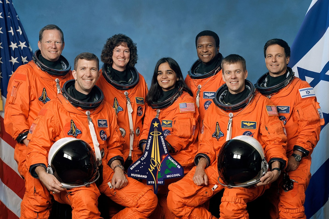 Space Shuttle Columbia, STS-107, Crew (l-r): Mission Specialist 1 David M. Brown, Commander Rick D. Husband, Mission Specialist 4 Laurel Blair Salton Clark, Mission Specialist 2 Kalpana Chawla, Payload Commander Michael P. Anderson, Pilot William C. McCool, Payload Specialist 1 Ilan Ramon. (Photo courtesy of NASA)