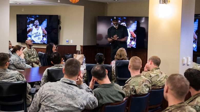 "Karl Malone, former NBA player and Olympic gold medalist, discusses leadership traits and professionalism with Airmen during an 8th Air Force and Joint-Global Strike Operations Center Leadership Lab at Barksdale AFB, La., Feb. 4, 2020. J-GSOC and ""Mighty Eighth"" Airmen come from a variety of career fields, all which support strategic bomber and nuclear command, control and communications operations worldwide. Malone also signed memorabilia and met with service members individually during a meet-and-greet."