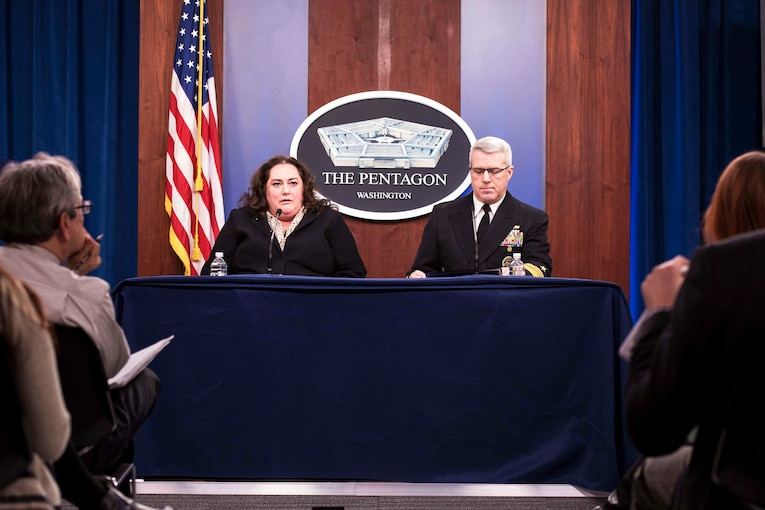 Acting Defense Department Comptroller Elaine McCusker and Navy Vice Adm. Ron Boxall, the Joint Staff's director of force structure, resources and assessment, brief reporters on the president's fiscal year 2021 defense budget request at the Pentagon, Feb. 10, 2020.