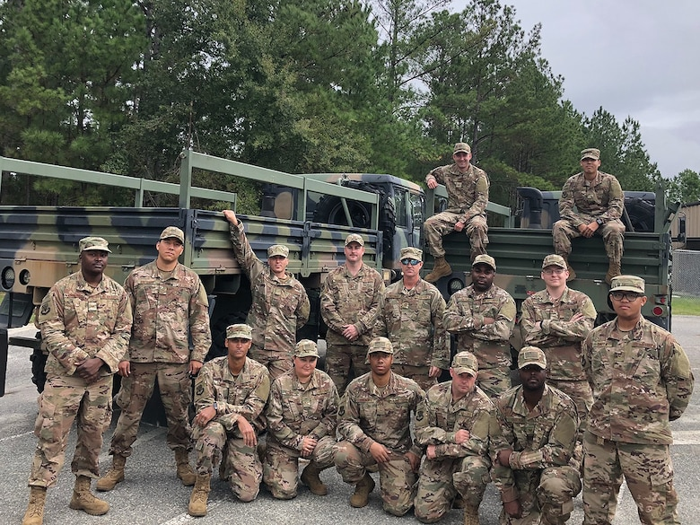 Airmen from the 85th Engineering Installation Squadron, pose for a photo, October 2018. The photo was taken before their deployment. (Courtesy photo provided by Capt. Ryan Headrick)