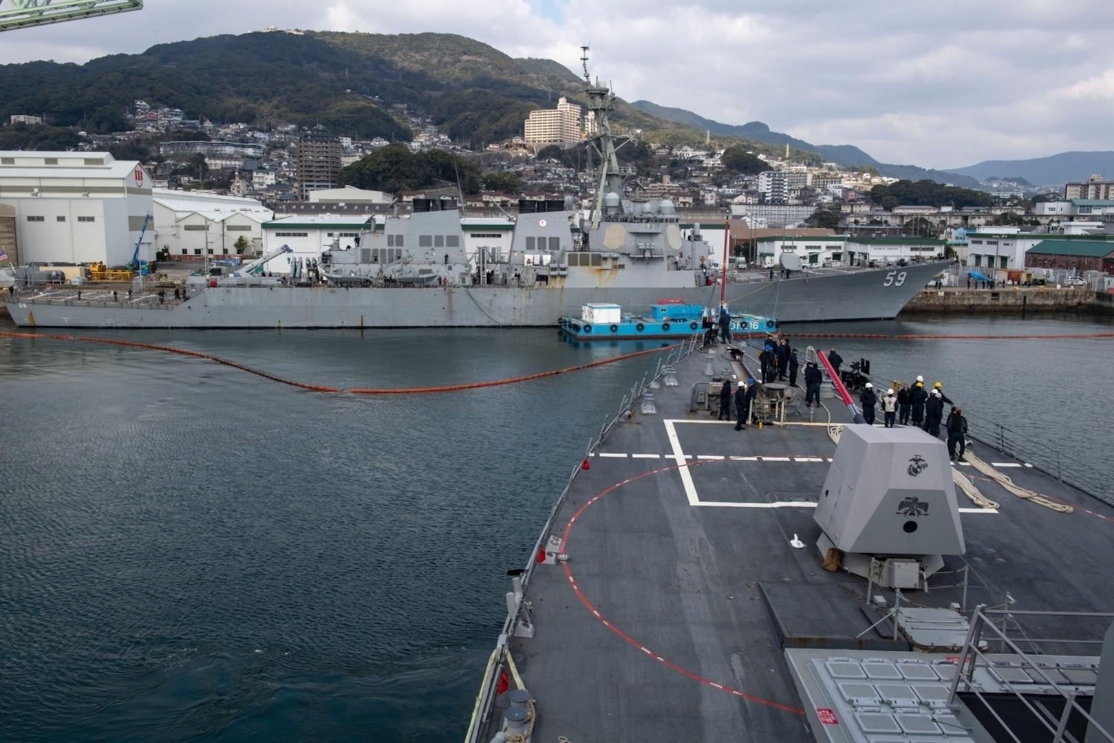 USS Rafael Peralta, Russell Visit Sasebo, Japan