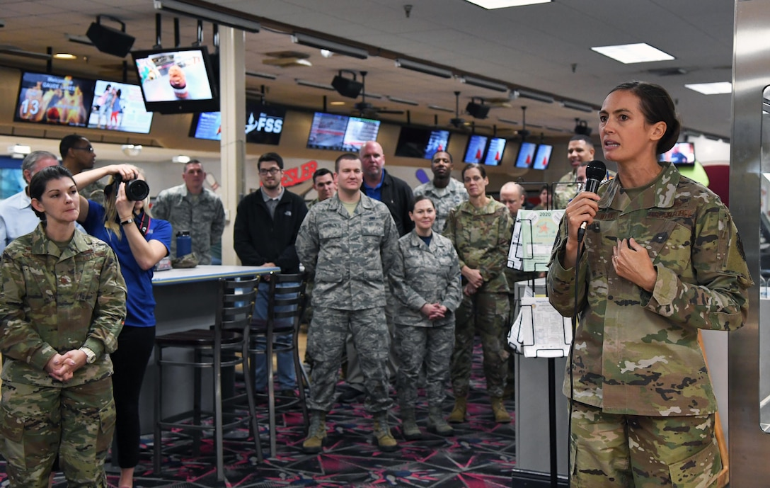 U.S. Air Force Col. Heather Blackwell, 81st Training Wing commander, delivers remarks during the grand re-opening of the Gaude Lanes Bowling Center at Keesler Air Force Base, Mississippi, Feb. 7, 2020. Renovations in the 11th Frame Cafe includes more space, new furniture and light fixtures and the addition of a grab-n-go section. (U.S. Air Force photo by Kemberly Groue)