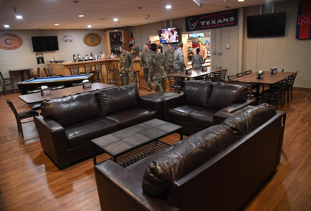 The lounge area is featured during the grand re-opening of the Gaude Lanes Bowling Center at Keesler Air Force Base, Mississippi, Feb. 7, 2020. Renovations in the 11th Frame Cafe includes more space, new furniture and light fixtures and the addition of a grab-n-go section. (U.S. Air Force photo by Kemberly Groue)