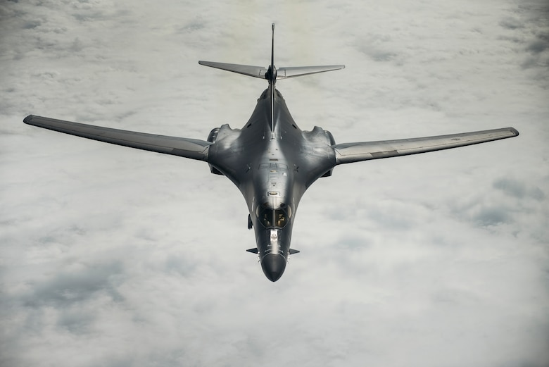 A U.S. Air Force B-1B Lancer, assigned to the 37th Expeditionary Bomb Squadron, Ellsworth Air Force Base, S.D., flies over the East China Sea, Jan. 9, 2018. The Lancer serves as premier platform for America's long-range bomber force, carrying the largest conventional payload of guided and unguided weapons in the Air Force inventory. (U.S. Air Force photo by Staff Sgt. Peter Reft)