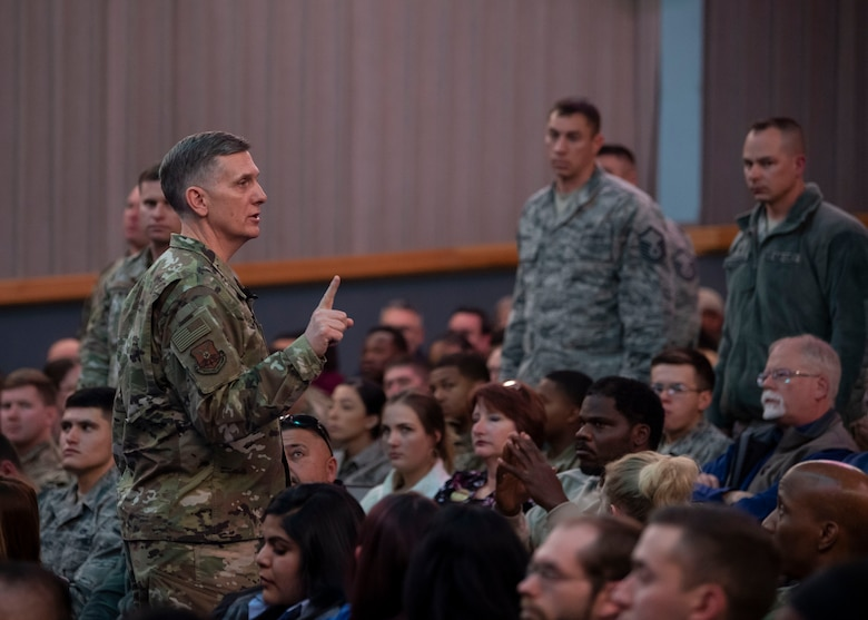Air Force Global Strike Command commander Gen. Timothy Ray addresses Airmen during an all call at Kirtland Air Force Base, N.M., Feb. 20, 2019. The general made a two-day visit to the base and Kirtland's 377th ABW, having meals with 377th ABW Airmen, receiving briefings and meeting with wing leadership and key spouses. (U.S. Air Force photo by Staff Sgt. J.D. Strong II)