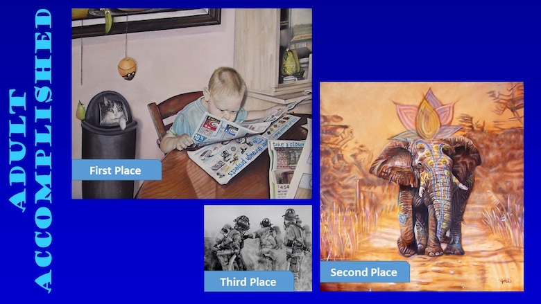 Photos of the top three winners of the Air Force Art Contest adult accomplished category.