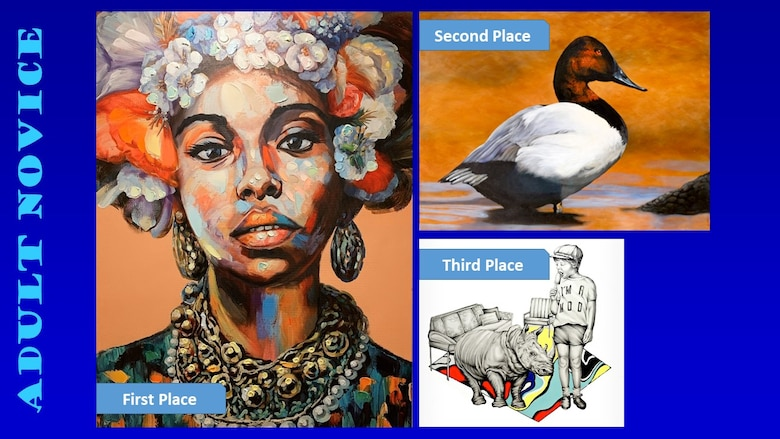 Photos of the top three winners of the Air Force Art Contest adult novice category.
