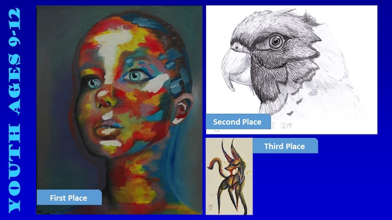 Photos of the top three winners of the Air Force Art Contest youth ages 9-12 category.