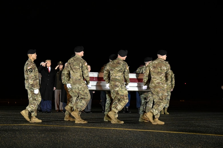A U.S. Army carry team transfers the remains of Sgt. 1st Class Antonio R. Rodriguez, of Las Cruces, N.M., Feb. 10, 2020 at Dover Air Force Base, Del. Rodriguez was assigned to the 3rd Battalion, 7th Special Forces Group (Airborne), Eglin Air Force Base, Fla. (U.S. Air Force Photo by Senior Airman Eric M. Fisher)