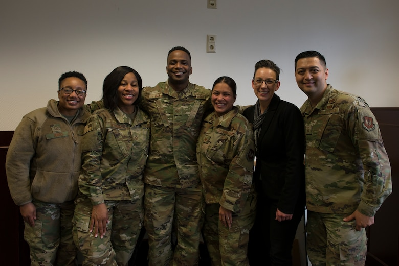 Members of the 86th Airlift Wing Equal Opportunity office pose for a photo at Ramstein Air Base, Germany, Jan. 30, 2020. Bias took feedback from over 4,400 surveys and advised commanders on how to break down barriers that affect morale, effectiveness and mission readiness.