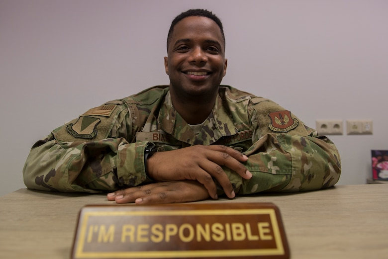 U.S. Air Force Tech. Sgt. Marcus Bias, 86th Airlift Wing equal opportunity specialist, poses for a portrait at Ramstein Air Base, Germany, Feb. 6, 2020. In addition to his official duties, Bias is a certified mediator and behavioral consultant.