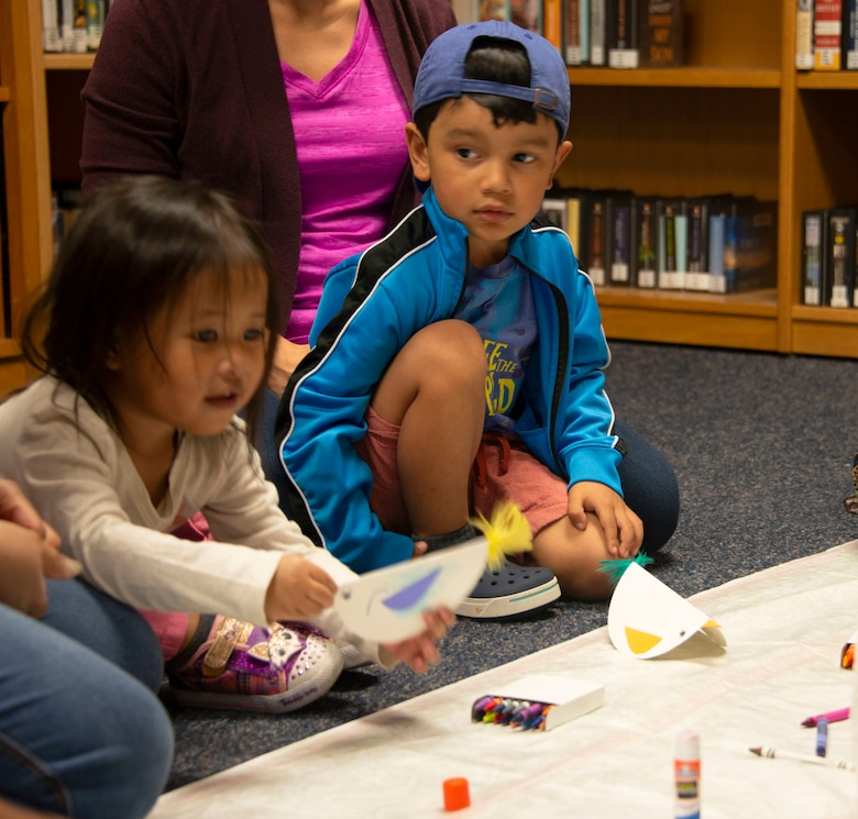 Children work on crafts during story time at the library, Feb. 5, 2020, Tyndall Air Force Base, Florida. Story time is held Wednesday mornings at 10:30 a.m. (U.S. Air Force photo by 2nd Lt. Kayla Fitzgerald)