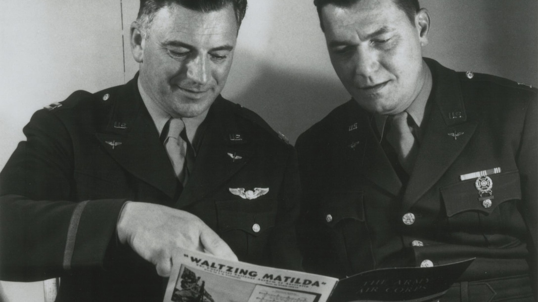 1943, Captains Robert Crawford and Alf Heiberg prior to concert featuring The Army Air Corps song