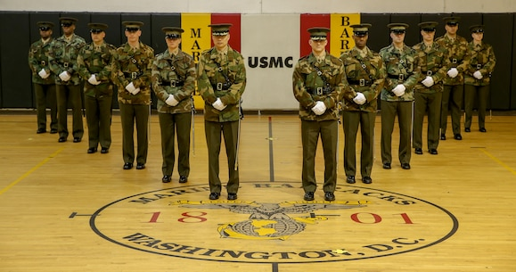 The Marines were selected to represent the Barracks as a part of the 2020 Parade Staff after several weeks of tirelessly drilling in Ceremonial Drill School and rigorous drill evaluations.