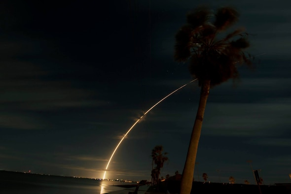 United Launch Alliance's Atlas V rocket carries the Solar Orbiter into space as it launches on Feb. 9, 2020, at Cape Canaveral Air Force Station, Fla. The Solar Orbiter is a Sun-observing satellite which is intended to perform measurements of the inner heliosphere and perform close observations of the polar regions of the Sun. (U.S. Air Force photo by Airman 1st Class Zoe Thacker)