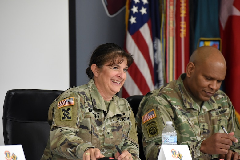 Brig. Gen. Kris A. Belanger, Commanding General, 85th U.S. Army Reserve Support Command responds to a question, asked by an Reserve Officers' Training Corps cadet, during the Fort Jackson ROTC Leader Professional Development Symposium, February 7, 2020, at Fort Jackson, South Carolina.