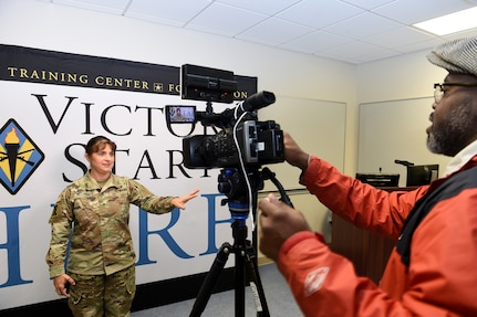 Brig. Gen. Kris A. Belanger, Commanding General, 85th U.S. Army Reserve Support Command conducts an interview with WLTX-TV Channel 19 in Columbia, South Carolina.