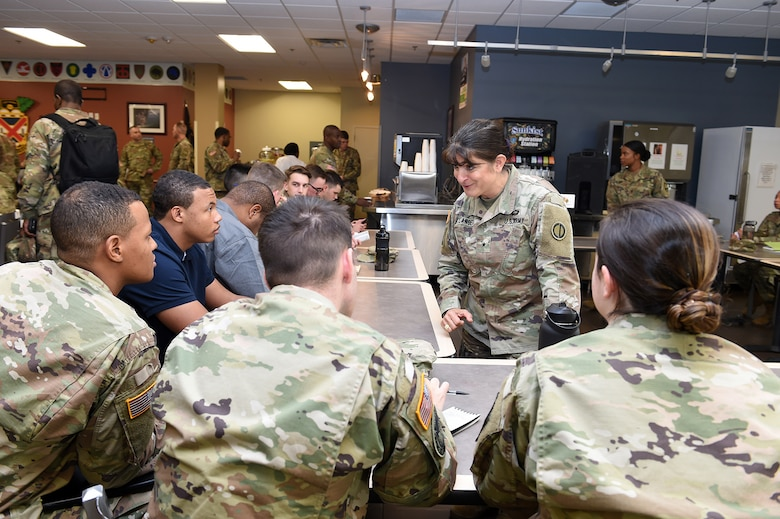 Brig. Gen. Kris A. Belanger, Commanding General, 85th U.S. Army Reserve Support Command talks with Reserve Officers' Training Corps cadets during a speed mentoring session at the Fort Jackson ROTC Leader Professional Development Symposium, February 7, 2020, at Fort Jackson, South Carolina.