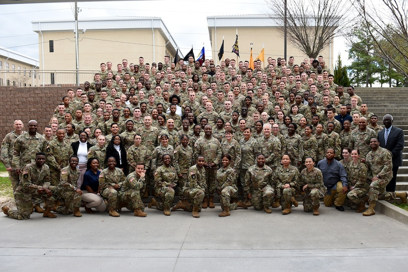 Reserve Officers' Training Corps cadets pause for a group photo at the conclusion of the Fort Jackson ROTC Leader Professional Development Symposium, February 7, 2020, at Fort Jackson, South Carolina.