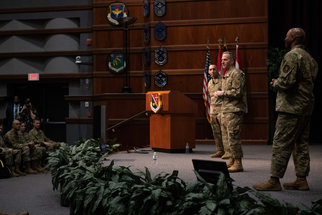 Air Force Chief of Staff Gen. David. L. Goldfein, the Chief Master Sergeant of the Air Force Kaleth O. Wright and Chief Master Sgt. Manny Pineiro, U.S. Air Force First Sergeant special duty manager, speak to students and faculty of Senior Noncommissioned Officer Academy, NCOA, First Sergeant Academy and Chief Master Sergeant Leadership Course, Feb. 5, 2020, on Gunter Annex, Maxwell Air Force Base, Alabama. Goldfein ended the discussion by giving the students three things he would like them to accomplish while attending training: Re-blue, Re-charge and Re-connect. (U.S. Air Force photo by Senior Airman Alexa Culbert)