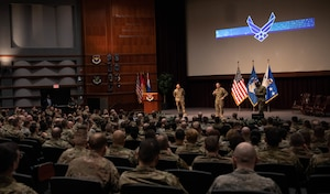 Air Force Chief of Staff Gen. David. L. Goldfein, the Chief Master Sergeant of the Air Force Kaleth O. Wright and Chief Master Sgt. Manny Pineiro, U.S. Air Force First Sergeant special duty manager, speak in the Senior Noncommissioned Officer Academy auditorium Feb. 5, 2020, Gunter Annex, Maxwell Air Force Base, Alabama. The three leaders spoke with faculty and students from SNCOA, NCOA, First Sergeant Academy, and the Chief Master Sergeant Leadership Course on big topics affecting the Air Force and advising how to be an effective SNCO and NCO in today's Air Force. (U.S. Air Force photo by Senior Airman Alexa Culbert)
