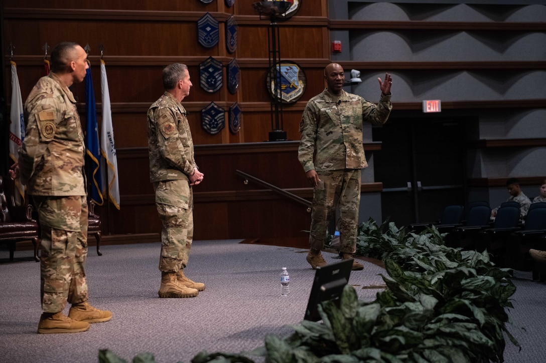 Air Force Chief of Staff Gen. David. L. Goldfein, Chief Master Sergeant of the Air Force Kaleth O. Wright and Chief Master Sgt. Manny Pineiro, U.S. Air Force First Sergeant special duty manager, speak to senior noncommissioned officers and NCOs at the SNCO Academy auditorium Feb. 5, 2020, Gunter Annex, Maxwell Air Force Base, Alabama. During their visit, Goldfein, Wright and Pineiro discussed issues currently facing the Air Force, to include the rising suicide rate and efforts to support the build out of the Space Force. (U.S. Air Force photo by Senior Airman Alexa Culbert)