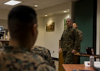 Colonel William C. Gray, commanding officer of 6th Maring Corps District, speaks to attendees of the staff noncommissioned officer in charge course 2-20 at the Four Winds Family Readiness Center aboard Marine Corps Recruit Depot Parris Island, South Carolina on Jan. 29, 2020. The course teaches new recruiting substation commanders everything they need to know about leading and managing Marine recruiters. (Marine Corps photo by Cpl. Jack A. E. Rigsby)
