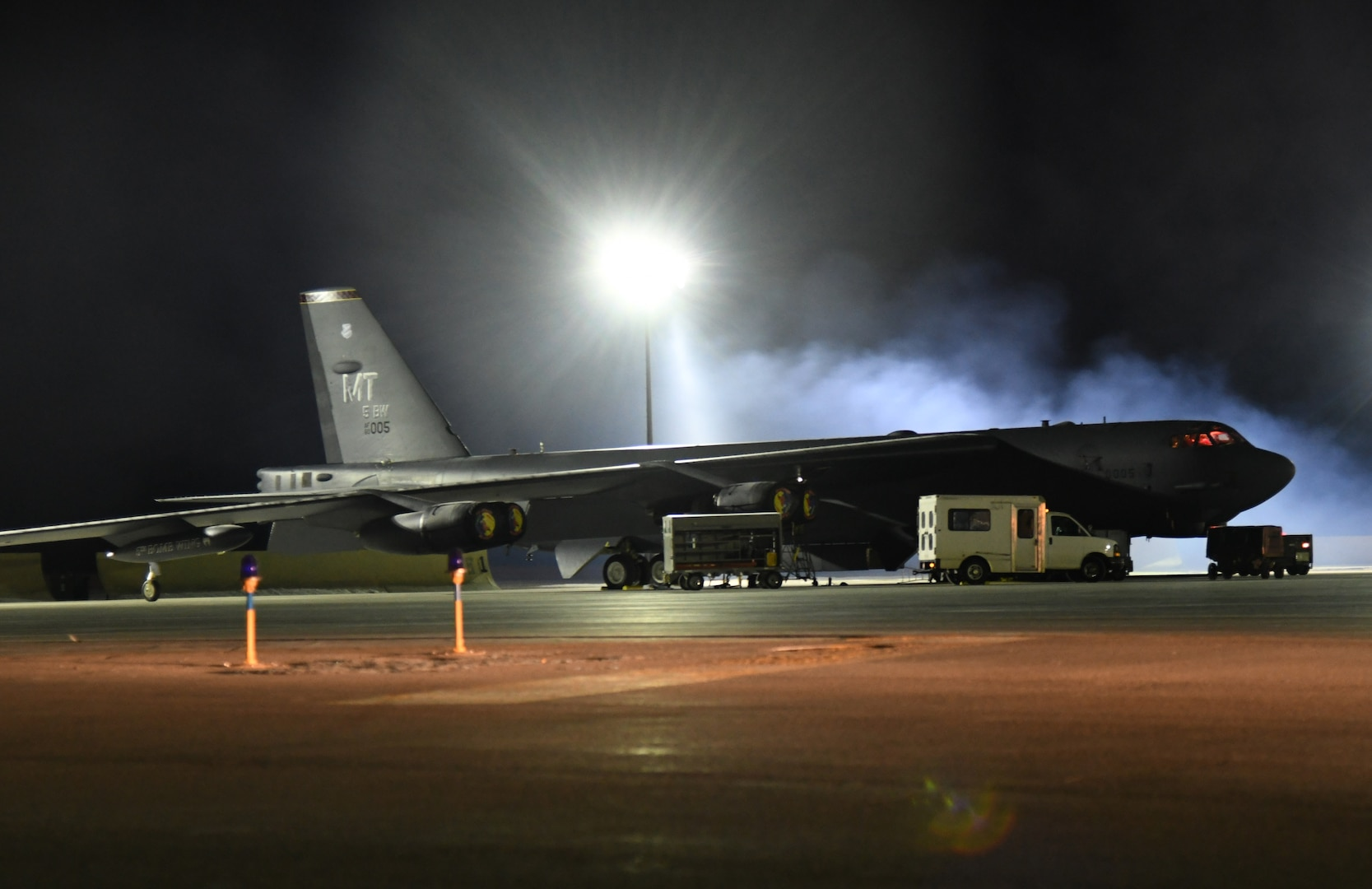 A B-52H Stratofortress prepares for takeoff from the flightline at Minot Air Force Base, North Dakota, Feb. 1, 2020, as part of a bomber task force mission. U.S. Strategic Command bomber forces regularly conduct combined theater security cooperation engagements with allies and partners, demonstrating the U.S. capability to command, control and conduct bomber missions across the globe. (U.S. Air Force photo by Airman 1st Class Caleb Kimmell)