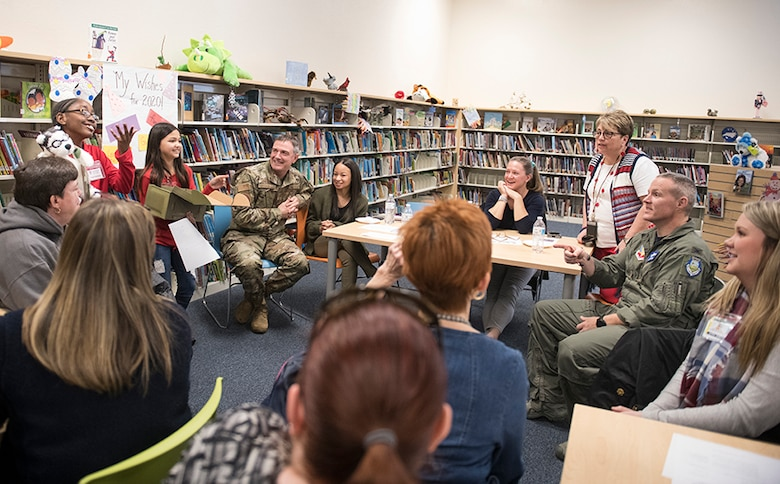 Meadow Lane Elementary School students draw laughs from Seymour Johnson Air Force Base leadership and Wayne County faculty as they present a care package designed for help military students attending the school, Jan. 31, 2020.