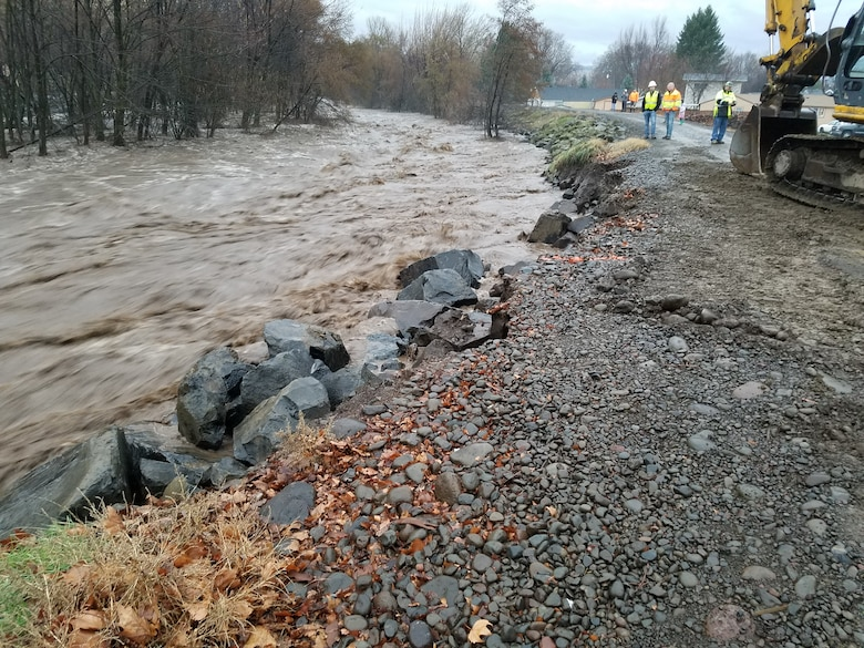 Walla Walla District Corps of Engineers floodfighting efforts in Milton Freewater on Friday Feb. 7.