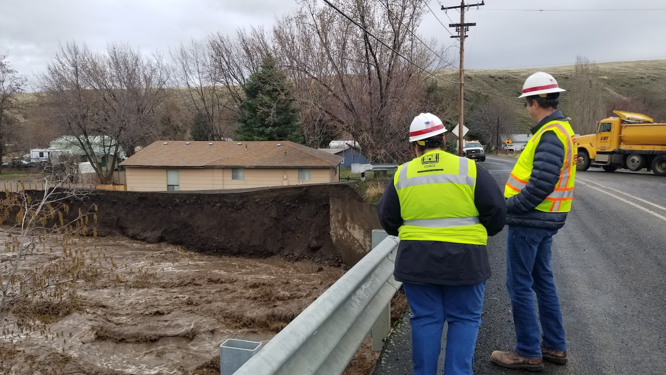 Corps officials surveying erosion in Milton Freewater, Feb. 7.