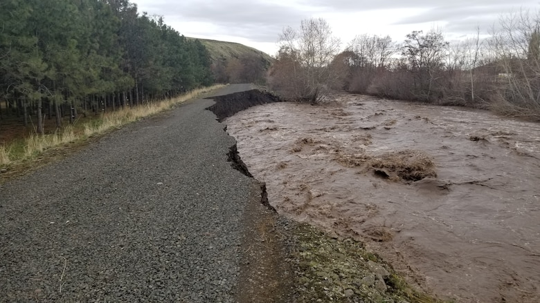 Erosion to a road in Milton Freewater on Feb. 7.