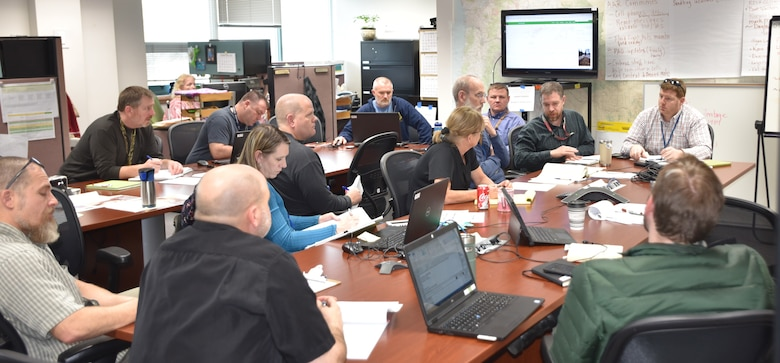 Walla Walla District Corps of Engineers Emergency Operation Center with Corps staff managing the Mill Creek Channel flows.