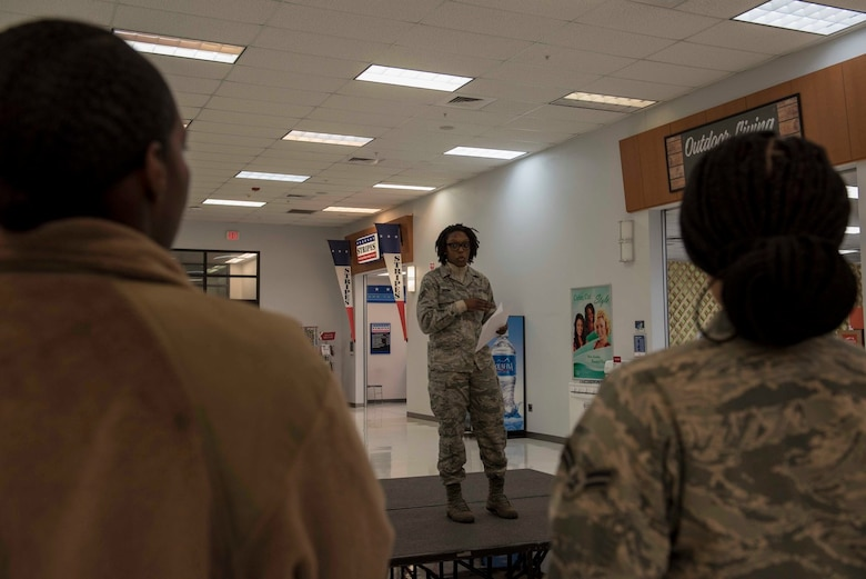 An Airman with the African American Heritage Council speaks during the 2020 Black History Month Kickoff on Eielson Air Force Base, Alaska, Feb. 3, 2020. The council held two events during the month to celebrate African American achievements and advancements. (U.S. Air Force photo by Airman 1st Class Aaron Larue Guerrisky)