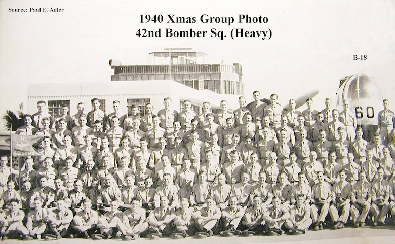 Vintage  group photo of the 42nd Bomber Squadron on Christmas Day in 1940.