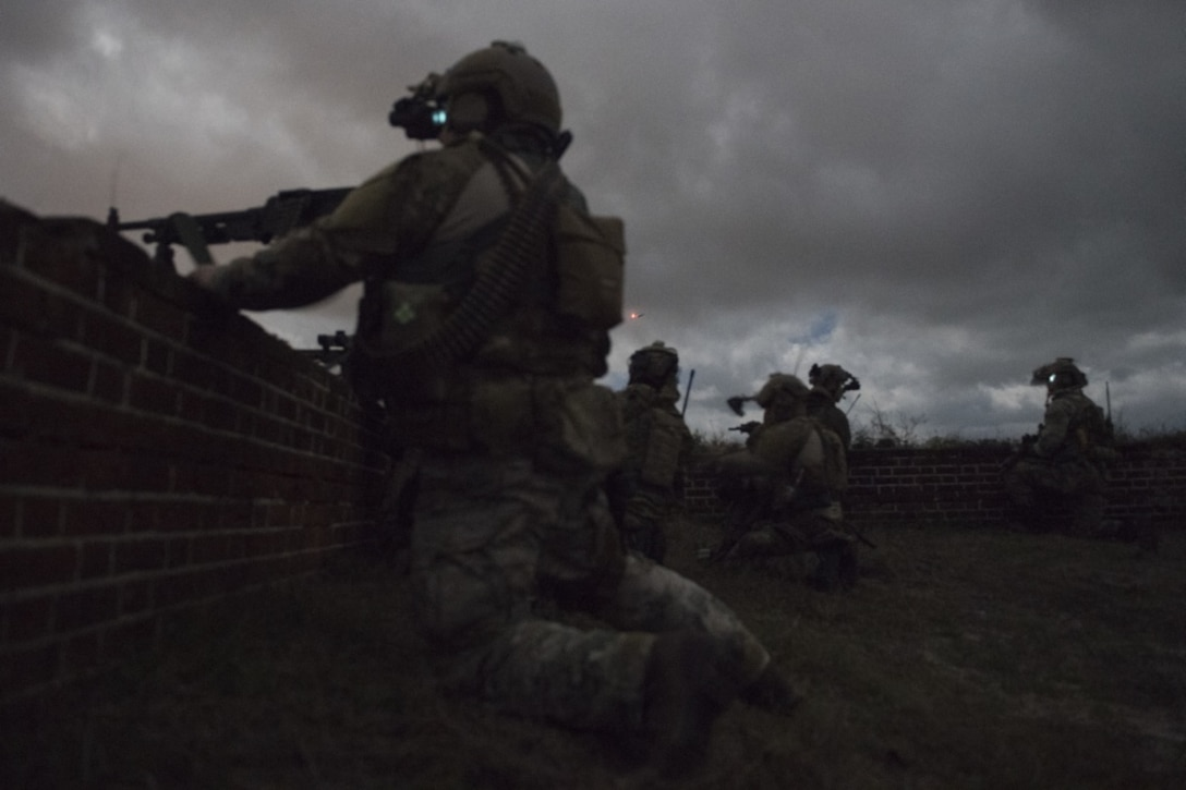 U.S. Air Force Special Tactics operators participate in Southern Strike 2020, in Fort Morgan, Ala., Feb. 6, 2020. Southern Strike is a large-scale, joint and international combat exercise, which features counter insurgency, close air-support, en-route casualty care, non-combatant evacuation and maritime special operations.